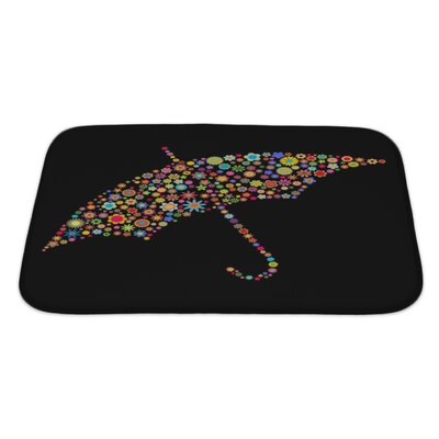 Flowers Umbrella Shape Made Up a Lot of Multicolored Small Flowers Bath Rug Size: Large