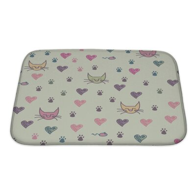 Animals Cartoon Pattern of Cat Footprint Bath Rug Size: Small
