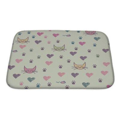 Animals Cartoon Pattern of Cat Footprint Bath Rug Size: Small