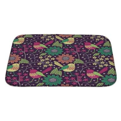 Gecko Floral Pattern Bath Rug Size: Large