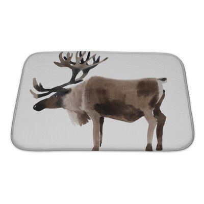 Animals Handwork Watercolor of a Deer Bath Rug Size: Small