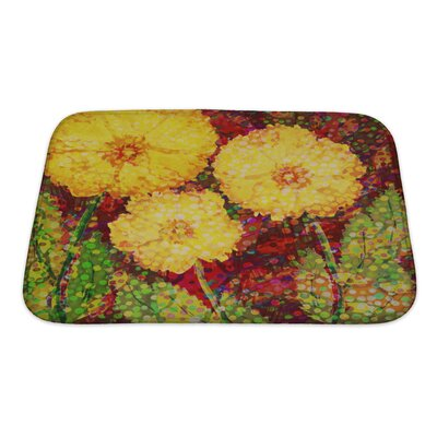Flowers Acrylic Hand Drawn with 3 Big Flowers Bath Rug Size: Small