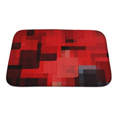 Art Beta Cubist Squares Abstract Brush Paint Bath Rug Size: Small