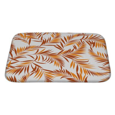 Leaves Tropical Plant Bath Rug Size: Large, Color: Red/White