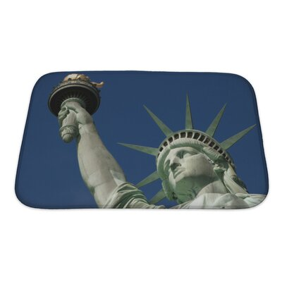 Patriotic Statue of Liberty on Liberty Island in New York City Bath Rug Size: Small
