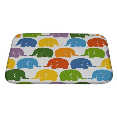 Animals Colorful Elephants Pattern Bath Rug Size: Large