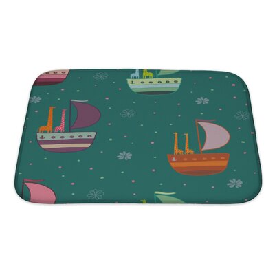 Marine Giraffes in a Boat Pattern Bath Rug Size: Small