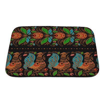 Simple Folk Gorodets Traditional Painting Pattern with Flowers and Birds Bath Rug Size: Small