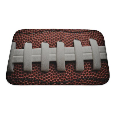 Soccer American Football Close Up with Laces and Bath Rug Size: Small