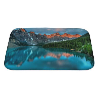 Landscapes During The Morning Sunrise at Moraine Lake, Banff National Park Bath Rug Size: Large