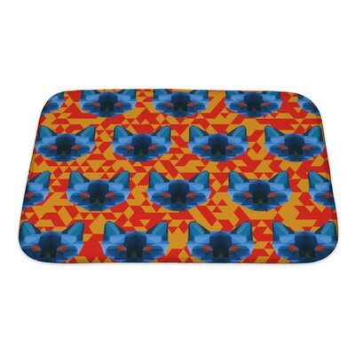 Animals Abstract Polygonal Siamese Cat Pattern Bath Rug Size: Small