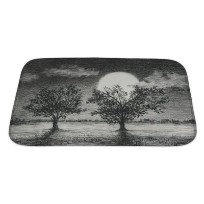 Landscapes Night Scene, 2 Trees are Lit by Moonlight Art Bath Rug Size: Large
