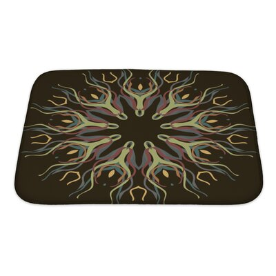Slide Abstract Dark Pattern with Abstract Flowers Bath Rug Size: Small