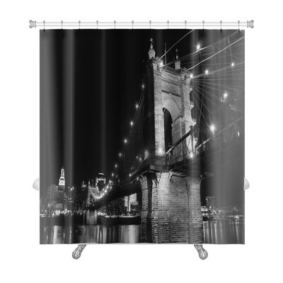 Skyline the Roebling Bridge Over the Ohio River at Cincinnati, Ohio Premium Shower Curtain