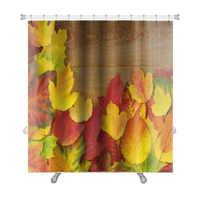 Leaves Autumn with Colored Leaves on Wooden Board Premium Shower Curtain