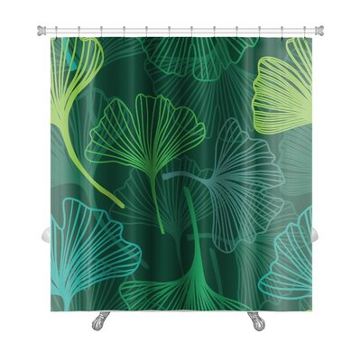 Delta Decorative Flower with Ginkgo Biloba Premium Shower Curtain