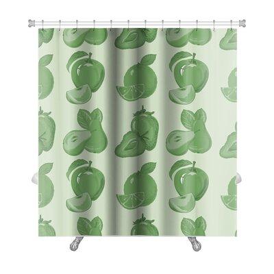 Slide Pattern of Ripe Strawberry, Apple, Premium Shower Curtain