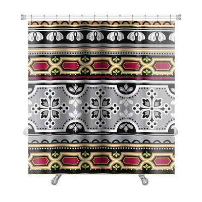 Tribal Floral Spanish Ornament Pattern Premium Shower Curtain