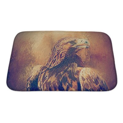 Birds Hawk Portrait Drawn Bath Rug Size: Small