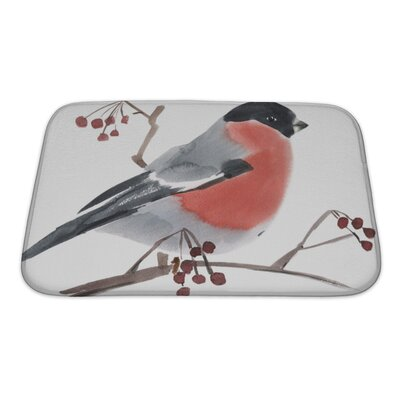 Birds Watercolor of a Bird Bullfinch Bath Rug Size: Small