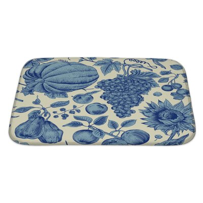 Nature Autumn Harvest with Pumpkin, Sunflower, Nuts and Fruit Bath Rug Size: Large