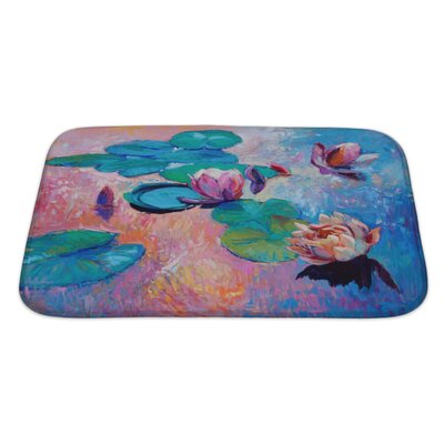 Art Alpha Original Abstract Oil Painting of Beautiful Water LiliesModern Impressionism Bath Rug Size: Large