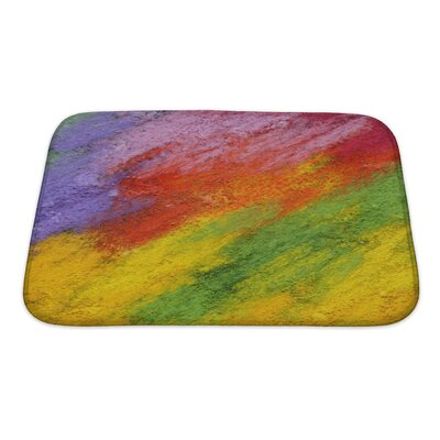 Art Primo Abstract Acrylic and Oil Pastel Hand Painted Impressionism Style Bath Rug Size: Small