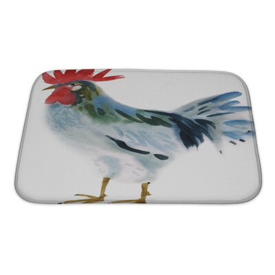 Birds Watercolor of a Hen Bath Rug Size: Small