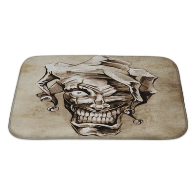 Danger Fantasy Clown Joker Sketch of Tattoo Over Dirty Bath Rug Size: Large