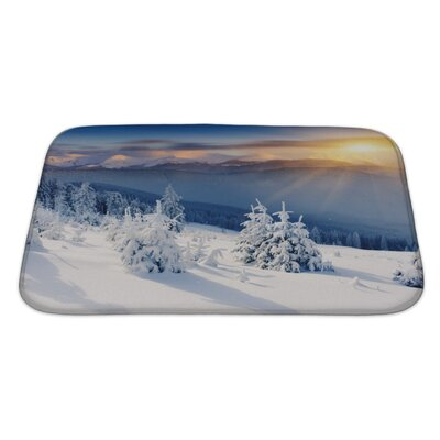 Landscapes Majestic Sunset in the Winter Mountains Landscape Dramatic Sky Bath Rug Size: Large