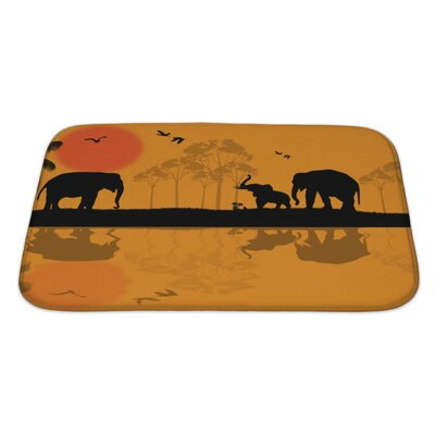 Animals African Wildlife at Sunset, Elephants Near Water Bath Rug Size: Large