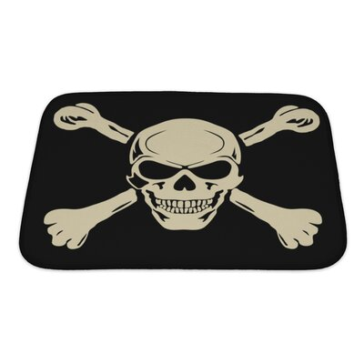 Danger Evil Skull with Bones Warning Sign Bath Rug Size: Small