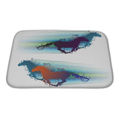 Animals Colored Horse Silhouette with Jets Bath Rug Size: Small