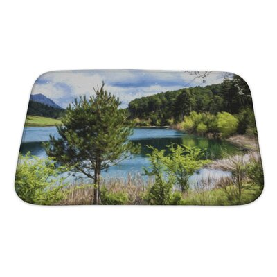 Landscapes Lake Under a Cloudy Sky Bath Rug Size: Small