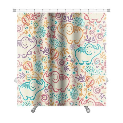 Animals Elephants with Flowers Premium Shower Curtain