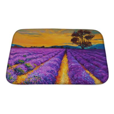 Landscapes Lavender Fields at Sunset, Modern Impressionism Bath Rug Size: Small