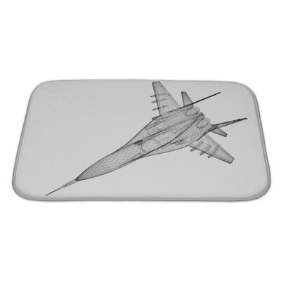 Aircraft Fighter Plane Model, Body Structure, Wire Model Bath Rug Size: Large, Color: Gray