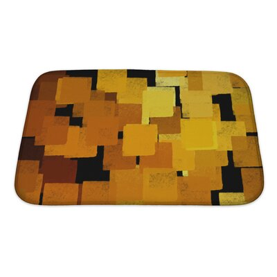 Art Beta Squares Abstract Brush Paint Bath Rug Size: Small