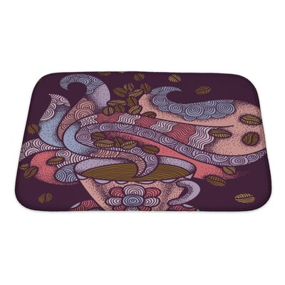 Simple Coffee Flavor Hand Drawn Graphic Ornate Warm Colors Isolated on Violet Bath Rug Size: Small