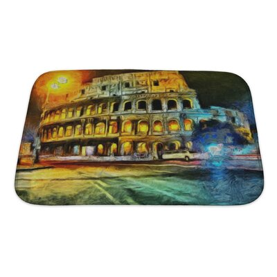 Art Touch Bright Illumination of Colliseum at Night Painting Bath Rug Size: Small