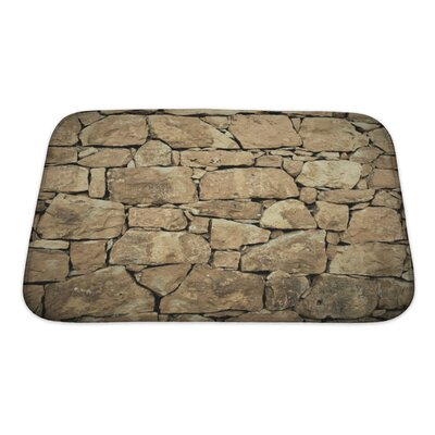 Wood Stone Wall Bath Rug Size: Small