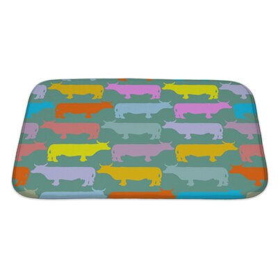 Animals Colored Cows Herd Ornament of Animals Bath Rug Size: Large