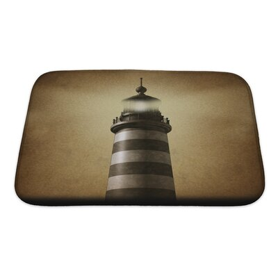 Marine Lighthouse on Old Grunge Vintage Bath Rug Size: Small