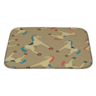 Animals Retro Styled Toy Horse Pattern Bath Rug Size: Large