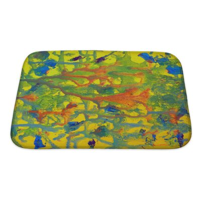 Art Touch Abstract Colorful Painted on Paper Bath Rug Size: Small