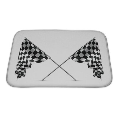 Cars 2 Crossed Checkered Flags Bath Rug Size: Small