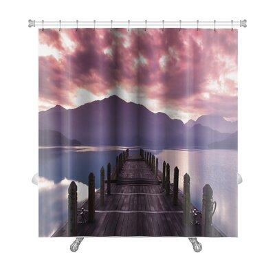 Landscapes Beautiful Morning at Spring Before Sunrise and Pier View Premium Shower Curtain