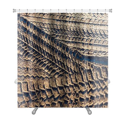 Cars Wheel Tracks on the Soil, Closeup Pattern Premium Shower Curtain