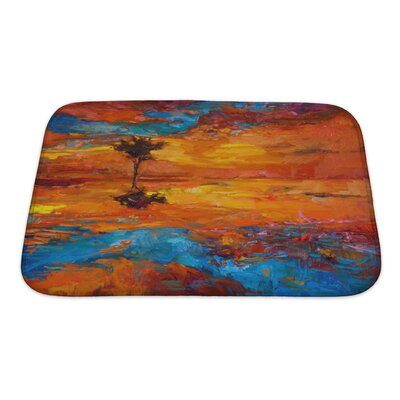 Art Alpha Abstract Lonely Tree in Front of Sunset Bath Rug Size: Small