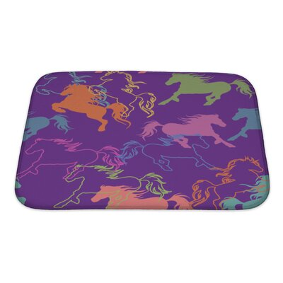 Animals of Racing Colorful Horses Bath Rug Size: Small